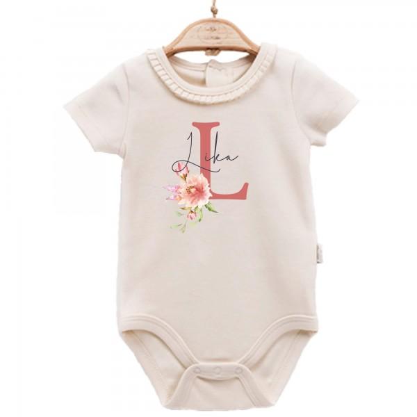 Baby Body kurzarm elegant Name Blume