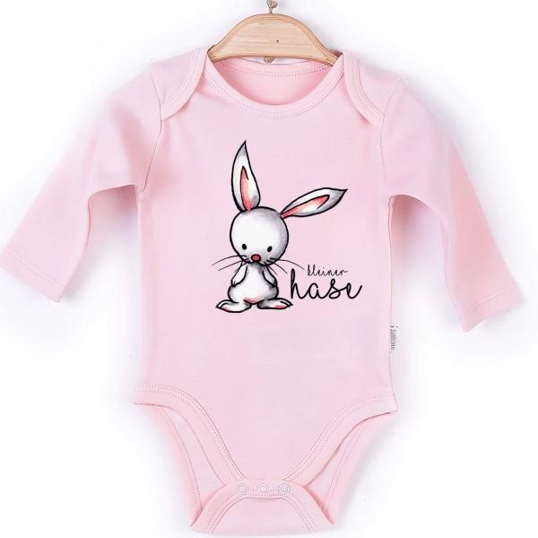 Baby Body Langarm rosa kleiner Hase