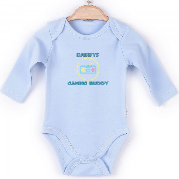 Baby Body langarm blau Daddys Gaming Buddy bunt