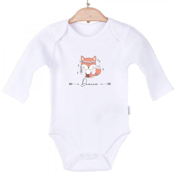 Baby Body Langarm weiß Name Boho Fuchs