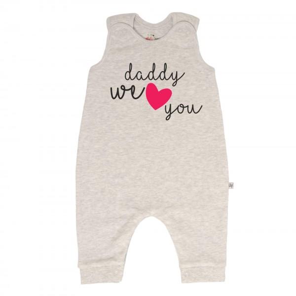 Strampler grau ohne Füße Daddy we love you
