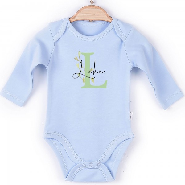 Baby Body Langarm blau Name Blumenranke
