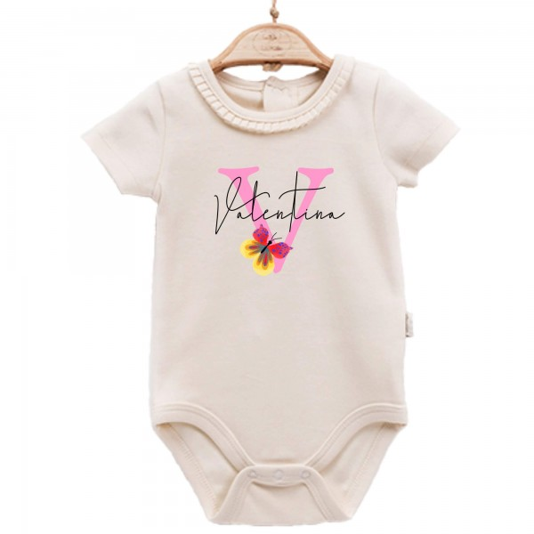 Baby Body kurzarm elegant Name Schmetterling
