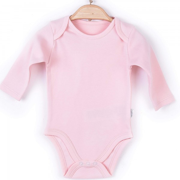 Organic langarm Body Mädchen rosa