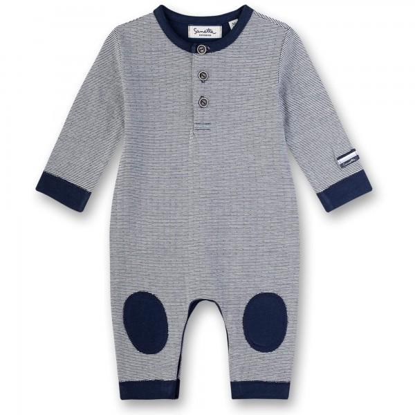 Sanetta Fiftyseven Baby Strampler ohne Füße gestreift blau
