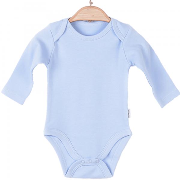 Organic langarm Body Junge hellblau personalisieren