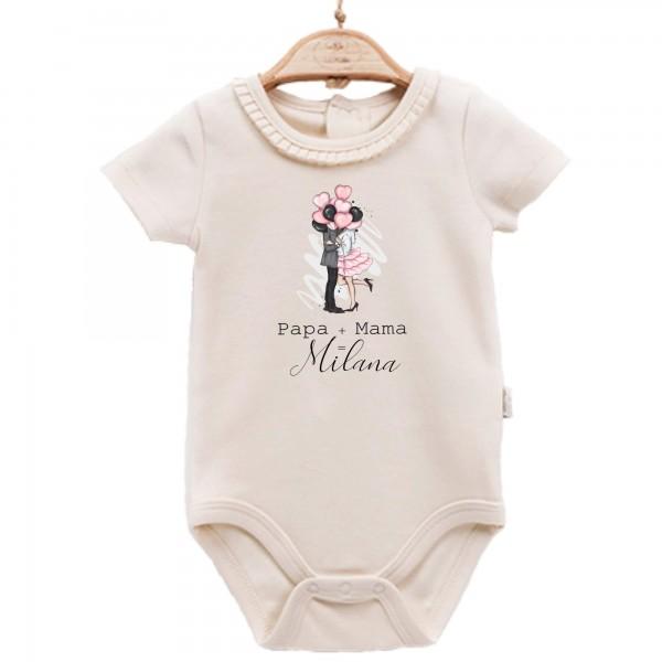 Baby Body kurzarm elegant Papa+Mama=Name