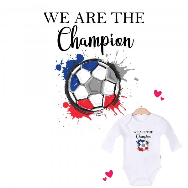 Baby Body langarm weiß We are the Champion Frankreich