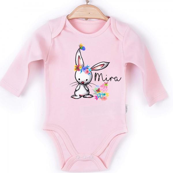 Baby Body Langarm rosa Hase Name