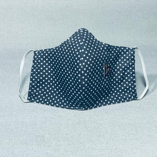 Stoffmaske Grau mit Pünktchen Herz
