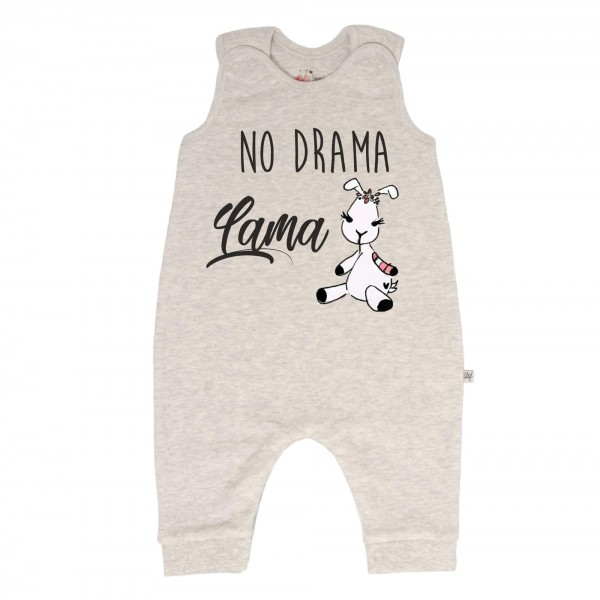 Strampler grau ohne Füße Lama No Drama