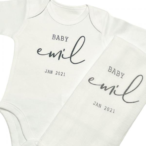 Baby Body Langarm weiß Set Baby Name