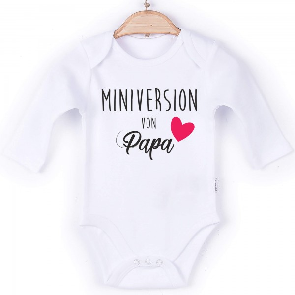 Baby Body Langarm weiß Spruch Miniversion Papa