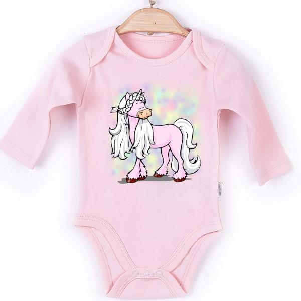 Baby Body Langarm rosa Melodie Bunt