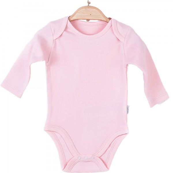 Organic langarm Body Mädchen rosa personalisieren