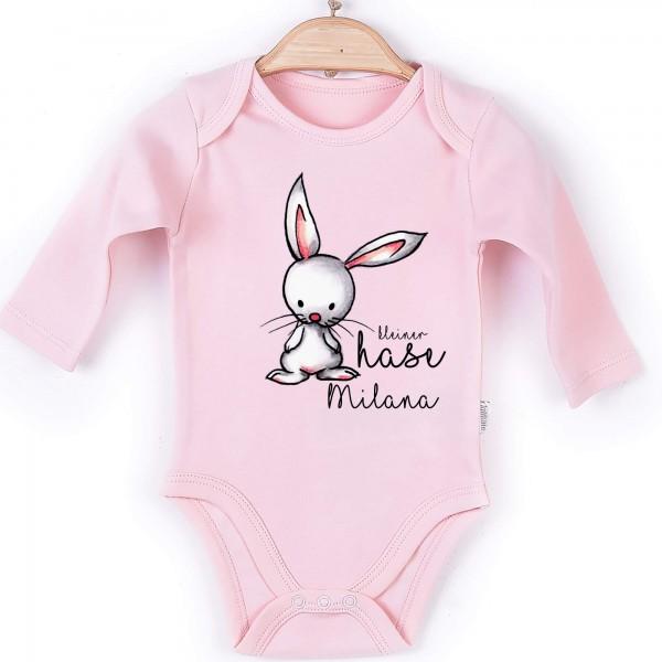 Baby Body Langarm rosa kleiner Hase Name