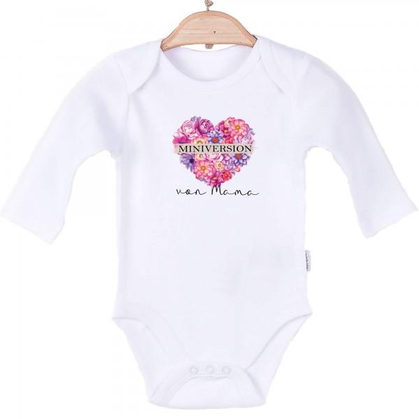 Baby Body langarm weiß Blumenherz