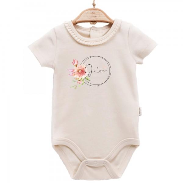 Baby Body kurzarm elegant Name Blume Kreis