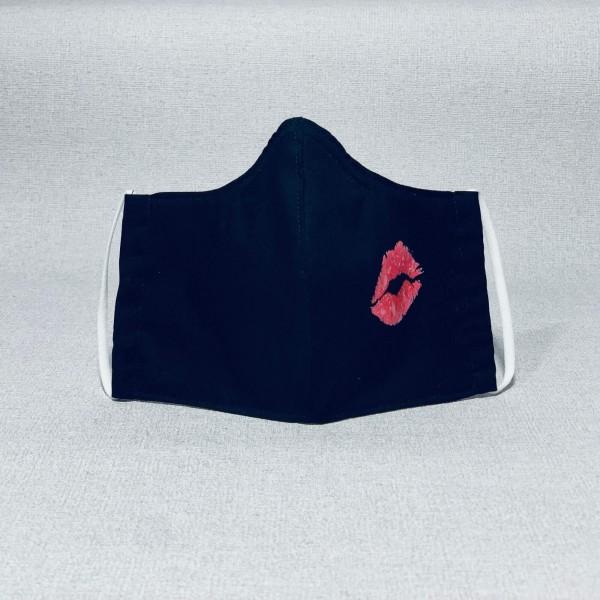 Stoffmaske schwarz kiss