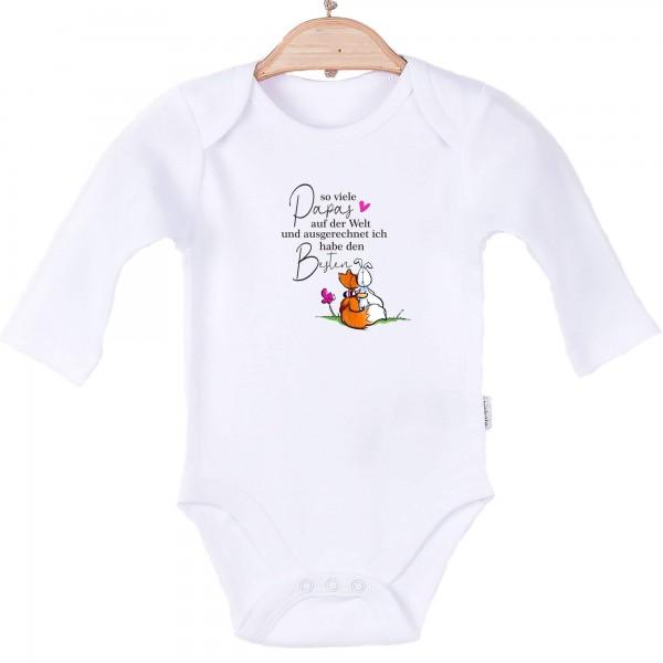 Baby Body langarm weiß so viele Papas